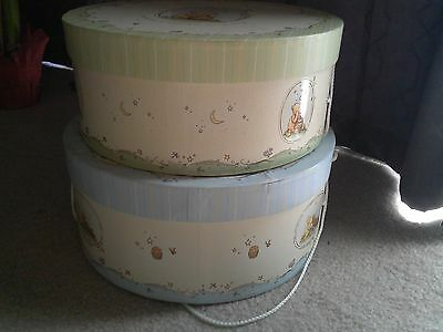 Classic Winnie the Pooh Round Hat Storage Drums Box Cord Handle Nesting Set of 2