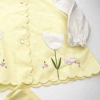 Vintage Little Girls Yellow Outfit Scallop Fall Tulips Embroider Top Pants 3/4