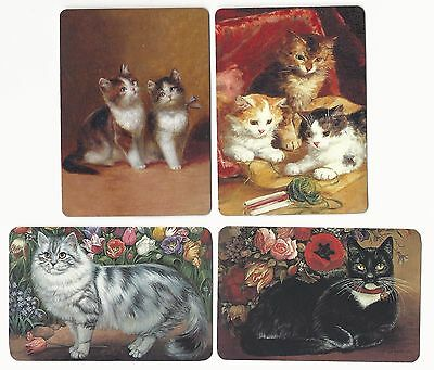 CATS -  4  single vintage swap playing cards
