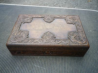 Antique Chinese Wooden Carved Dragons Jewellery Trinket Box JAPANESE WOODEN BOX