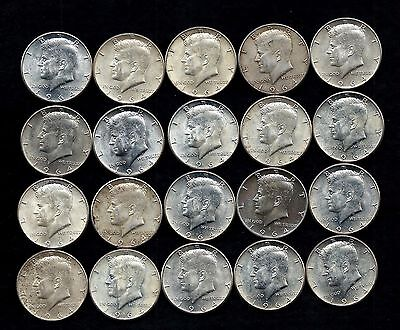 One Roll 1964 Kennedy Half Dollars 90% Silver (20 Coins)   Lot S12