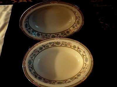 "Noritake ""miyoshi"" 7194  Pair 10"" Oval Serving Bowl Excellent Condition"