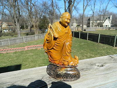 Antique Chinese Hand-Carved Soapstone Statue And Base