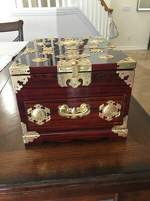 Asian Lacquered Jewelry Box with Adjustable Mirror