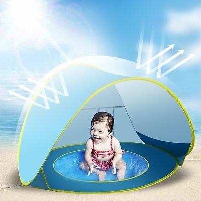 Baby Beach Tent Toy Portable Pop Up Sun Shade Kiddie Tent Pool W/ Canopy Uv Prot