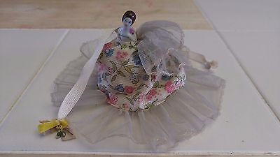 Vintage Half Doll Pin Cushion with Lace and Ribbon