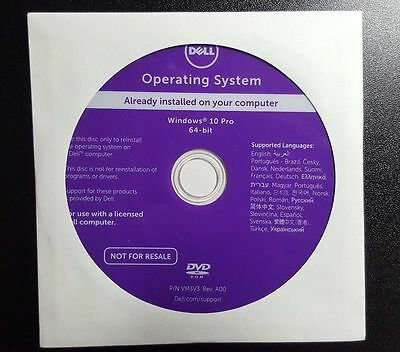 Dell Windows 10 Professional 64-Bit OS Restore Recovery DVD Disc