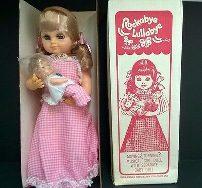 VINTAGE~Rockabye Lullabye Moving Turning Musical Girl Doll by EG-New In Open Box