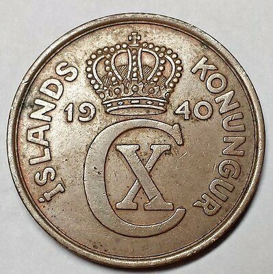 Iceland 1940 Five Aurar coin Christian X No Reserve KM #7
