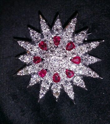 Antique Edwardian Deco Pin Broach Pendant With Rose Cut Diamond And Burmese Ruby