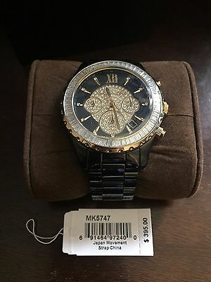 Michael Kors MK-5747 Women's Watch with Jewel Face and Black Ceramic Bracelet