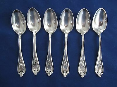 "1847 Rogers Bros Old Colony Set of 6 Tea Spoons  6"" Silverplate"