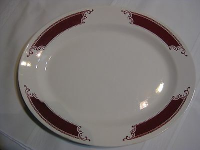 "Homer Laughlin B54N6 Burgundy and White 13-1/2"" PLATTER"