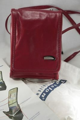 Unisex TRAVELON TRAVEL WALLET red leather Crossbody For purse bag With dust bag