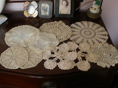 """Vtg Lot 9 Hand Crocheted Round Table Top 10""""To 6"""" Ecru Doilies Various Designs"""