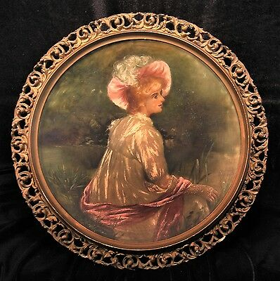 "Antique 12"" Blown Satin Glass Handpainted Portrait Plate Woman Reticulated Frame"