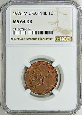 1926-M Phillipines - Usa - One Centavo - Ngc Ms64 Rb - Km163  (17-0245)