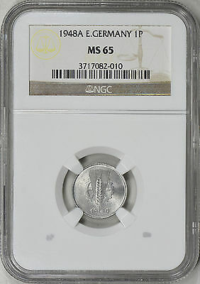 1948A East Germany 1 Pfennig - Ngc Ms65 - Km1 (17-0051)