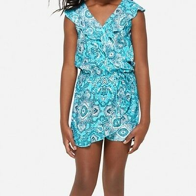 Girls JUSTICE size 10 Turquoise Medallion Print ROMPER Brand New NWT