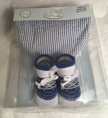 So Dorable Baby Cabbie Hat and Bootie Set 6-12 Months NEW In Package Blue White