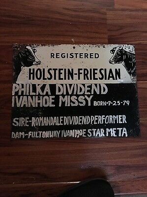 Rare 1970s Registered Holstein - Friesian Tin Sign