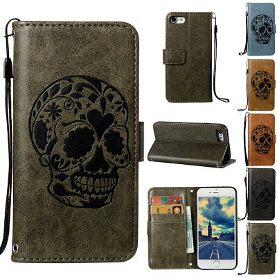 For iPhone 5s Stylish Skull Head Pattern Leather Magnetic Wallet Case Cover Gray