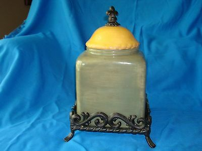 Artimino Tuscan Countryside Sienna Sage Canister / Iron Stand HTF