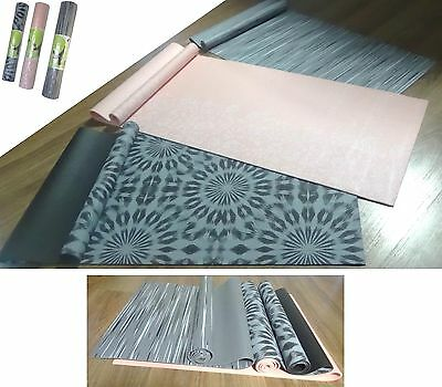 Yoga Floor Mat Pilate Gym Exercise Non-Slip Fitness Printed Pink Grey Black 5mm