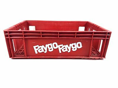 Vtg FAYGO Plastic Pop Crate Soda Bottle Carrier Tote Tray DETROIT, MI Red Caddy
