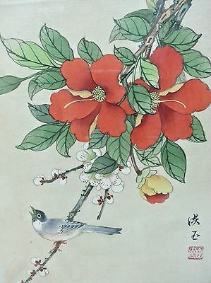 Antique Silk PAINTING CHINESE JAPANESE WATERCOLOR BLOSSOMS  Calligraphy signed