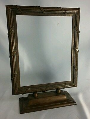 "Antique 8.6 Pds 13"" French Guillache ? Bronze Picture Vanity Standing Frame"