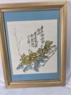 "Antique ? Chinese Watercolor Flowers Calligraphy Wood Frame Glass Age 16"" by 21"""