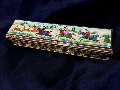 Persian miniature Hand PAINTING Pencil Box wood playing Polo horses Not Inlaid
