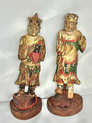"Two 7"" Antique Very Old  Chinese Wood Hand Painting Gold Household Gods Statue"