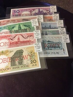 World Banknotes Poland Lot Of 9 1990 #801