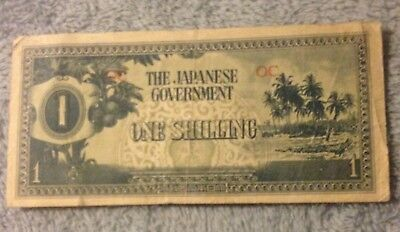 1943 Japan Occupation Currency 1 Shilling Banknote