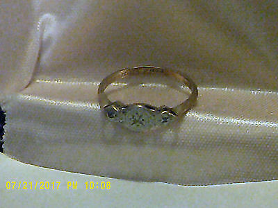 Vintage18k gold and platinum ring with diamonds, size 7