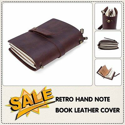Retro Hand Note book Leather Cover Journal Diary Notebook Vintage Brown Notebook