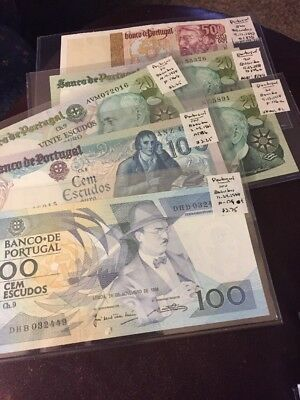 World Banknotes Portugal Mixed Lot Of 6 # 803