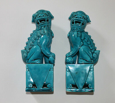 Vintage Pair of Turquoise Chinese Foo Dog Figurines Statues