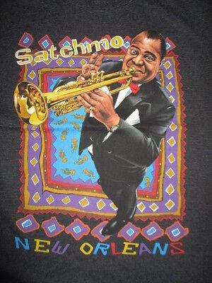 Vintage Tee Jays Label - SATCHMO LOUIS ARMSTRONG - NEW ORLEANS (LG) T-Shirt JAZZ