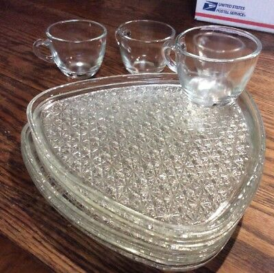 Indiana Colony Glass 2 Clear Daisy & Button Snack Luncheon Plate & Cup Sets