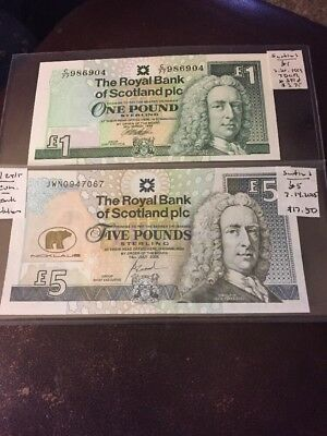 World Banknotes Scotland Lot Of 2 Including Commemorative Note #809