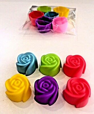 "~x6 MINI SILICONE (INDIVIDUAL) ""ROSE"" SOY WAX TART/MELT or CHOC MAKING MOULDS"