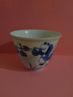 Antique Chinese hand painted porcelain tea cup Qing Dynasty