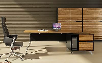 Novara Executive Desk in Zebrano Wood Veneer