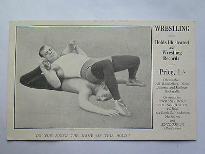 Postcard Wrestling Holds Illustrated & Wrestling Records Melbourne Australia