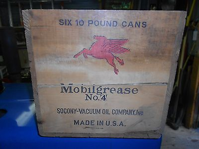 Vintage MOBILGREASE WOOD Shipping Crate BOX~Socony Vacuum Oil Co.~Flying Horse