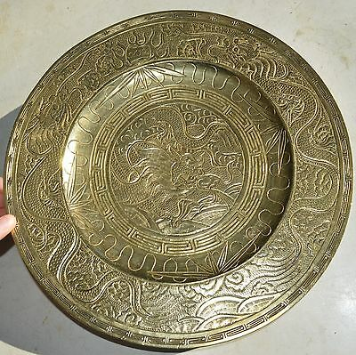 """antique Bronze Hand Etched Chinese Xuande Ming Dynasty Dragon Plate"""