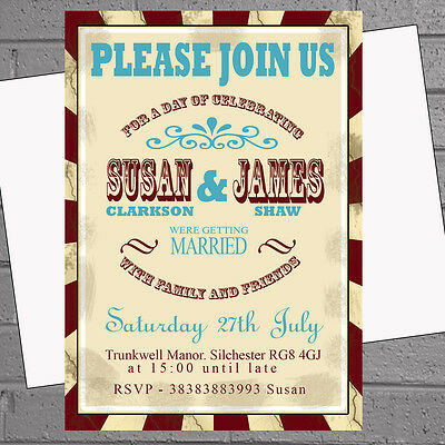 Old Fashioned Vintage Circus Poster Style Wedding Eve Day Invites x12 H0675